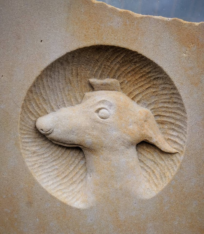 Memorials: Pet dog memorial in Northumbrian Sandstone